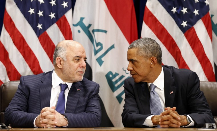 U.S. President Barack Obama meets with Iraqi Prime Minister Haider al-Abadi during the United Nations General Assembly in New York. World leaders gather in New York this week to tackle a host of crises: the violence Islamic State militants are wreaking in Iraq and Syria, the exponential spread of the deadly Ebola virus in Africa and deadlocked negotiations on Iran's nuclear program. (Kevin Lamarque/Reuters)