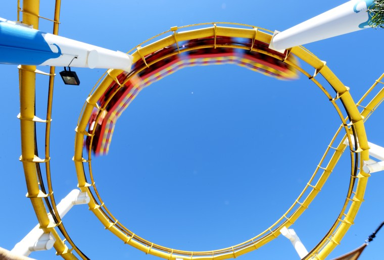 The underside of the roller coaster at the Santa Monica Pier.