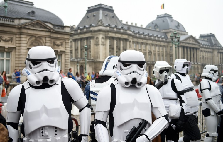 People dressed as Star Wars stormtroopers take part in the Balloon's Day Parade as part of the annual Comic Book Festival in Brussels. (Emmanuel Dunand/AFP-Getty Images)