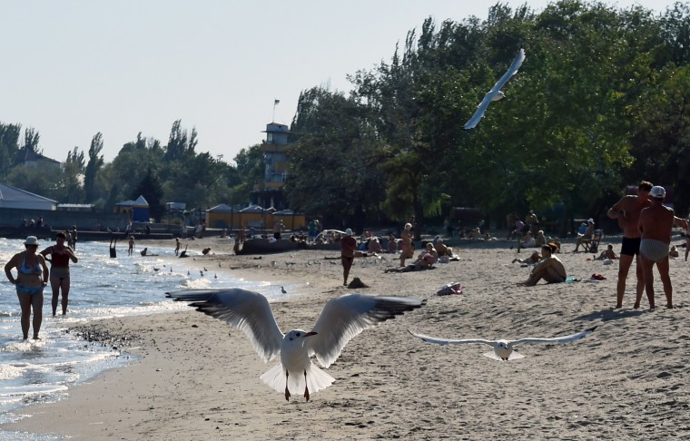 Gulls fly near Ukrainian people who enjoy the sun on a beach in the key southeastern port city of Mariupol after a ceasefire was signed the day before between Ukraine and pro-Kremlin insurgents. The guns remained silent over eastern Ukraine on September 6 as a truce between Ukraine and pro-Kremlin insurgents appeared to be holding despite concerns it will fail to halt the separatist drive in the east. (Philippe Desmazes/AFP-Getty Images)