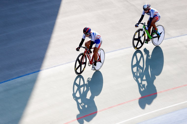 Team of Chinese Taibei competes in Cycling - Track Women's Team Sprint Qualifying during the 2014 Asian Games at Incheon International Velodrome in Incheon, South Korea. (Lintao Zhang/Getty Images)