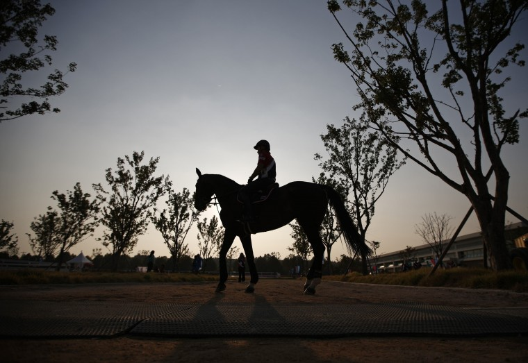 A competitor from Thailand is silhouetted during sunset during the equestrian Dressage Team competition at the Dream Park Equestrian Venue during the 17th Asian Games in Incheon. (/Kim Hong-Ji/reuters)