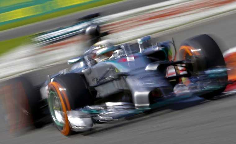 Mercedes Formula One driver Lewis Hamilton of Britain takes a curve during the third practice session of the Italian F1 Grand Prix in Monza. (Max Rossi/Reuters)