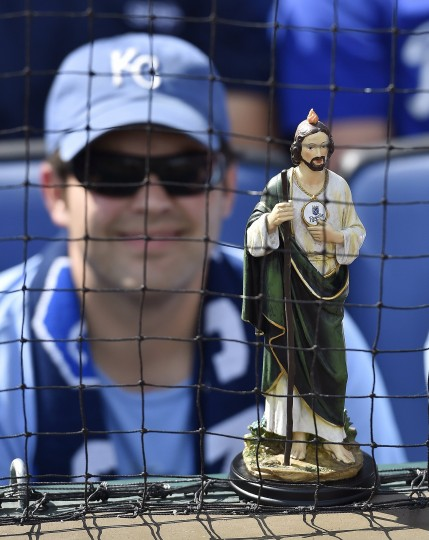 A fan brought a St. Jude statue to prop up behind home plate before Saturday's baseball game between the Kansas City Royals and Detroit Tigers at Kauffman Stadium in Kansas City, Mo. St. Jude is the patron saint of hopeless cases. It did not help, as the Royals lost. (John Sleezer/Kansas City Star/MCT)