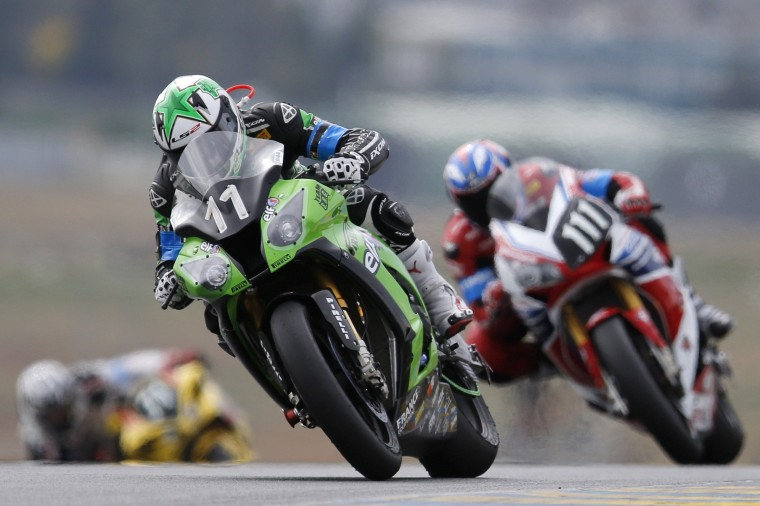Kawasaki rider Gregory LeBlanc of France competes during the 37th Le Mans 24 Hours motorcycling endurance race in Le Mans, western France. (Stephane Mahe/Reuters)