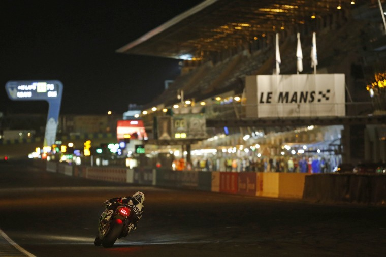 A rider competes during the 37th Le Mans 24 Hours motorcycling endurance race in Le Mans, western France. (Stephane Mahe/reuters)