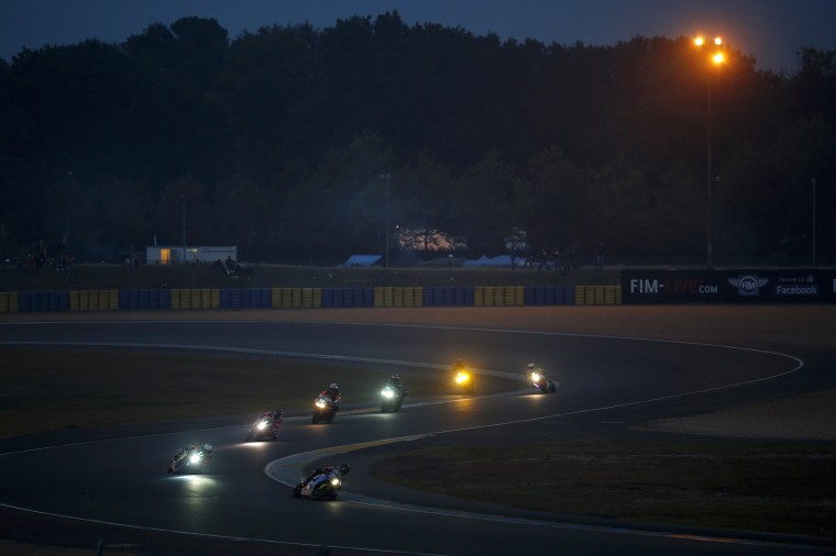 Riders compete during the 37th Le Mans 24 Hours motorcycling endurance race in Le Mans, western France. (Stephane Mahe/Reuters)