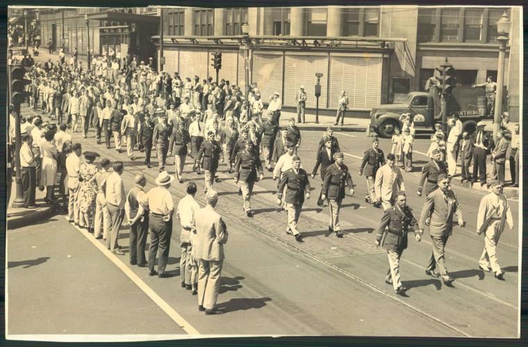 The 1946 Baltimore Labor Day Parade marches through the city. (Baltimore Sun Photo)