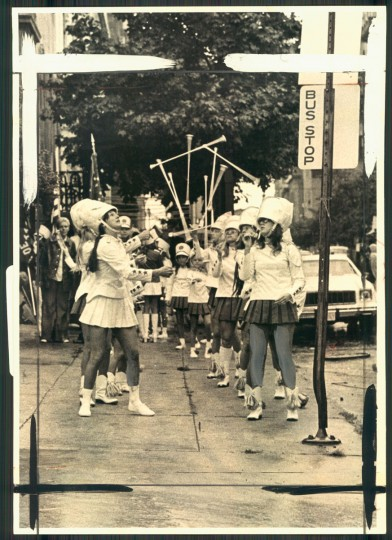 Twirlers participate in the Labor Day Parade on Sept. 1, 1975. (Ralph L. Robinson/Baltimore Sun)