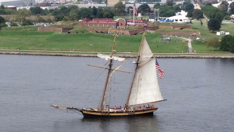 The tall ship Pride of Baltimore II sailed in front of Fort McHenry. Tall ships have begun arriving in the Inner Harbor for the Star-Spangled Banner Bicentennial Celebration. (Lloyd Fox / Baltimore Sun)