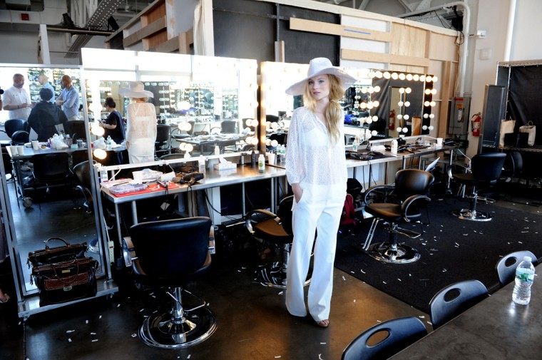 A model poses backstage at the Tess Giberson fashion show during Mercedes-Benz Fashion Week Spring 2015 at Pier 59 on September 5, 2014 in New York City. (Photo by Craig Barritt/Getty Images)