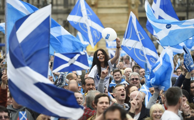 Campaigners wave Scottish Saltires at a 'Yes' campaign rally in Glasgow, Scotland on September 17, 2014. (REUTERS/Dylan Martinez)
