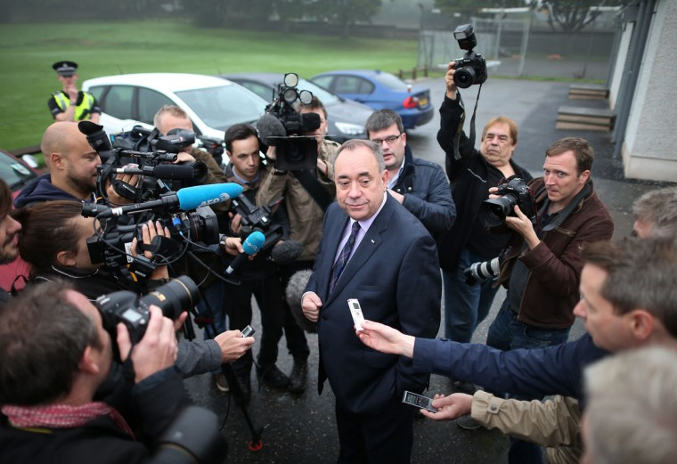 Alex Salmond stands down as Scottish First Minister following his defeat in the Scottish referendum. (Photo by Peter Macdiarmid/Getty Images)