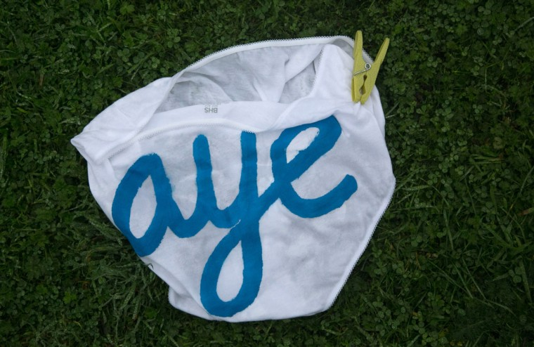 A pair of underpants which had been displayed on a washing line below Edinburgh Castle in support of the Yes vote, lies discarded on the ground on September 19, 2014 in Edinburgh, Scotland. (Photo by Matt Cardy/Getty Images)
