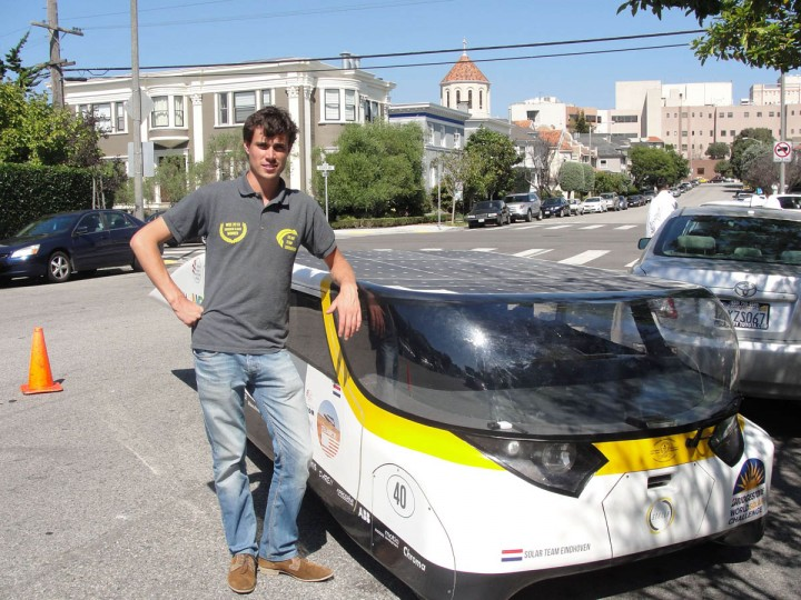"Solar Team Eindhoven manager Lex Hoefsloot poses with solar-power car 'Stella' outside Dutch Consulate Residence in San Francisco. A solar-powered family car completed its drive from Los Angeles to San Francisco fueled by good vibes and pure California sunshine. And after turning the heads of gobsmacked onlookers during its journey up California's scenic Pacific Coast Highway, the creators of ""Stella"" are dreaming of a day when their futuristic vehicle is a commonplace sight. The lightweight, wedge-shaped automobile is capable of traveling 500 miles (800km) on a single charge -- further if the sun is shining -- while clocking 80 miles per hour. (Glenn Chapman/Getty Images)"