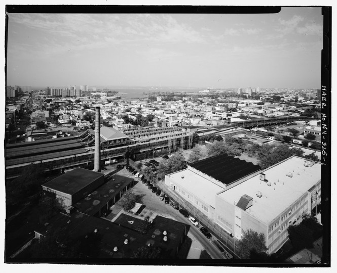 Aerial view of the Stillwell Avenue Station, looking west. Intersection of Stillwell & Surf Avenues, Brooklyn, Kings County, NY. The Stillwell Avenue Station was built as part of a massive expansion and unification of New York City's subway system known as the Dual System of Rapid Transit, which was one of the largest civil works projects ever undertaken and created the largest subway system in the world. The station was built by the Brooklyn Rapid Transit Company, at that time the world's largest and most complete city transportation system, and united four major transit lines, stimulating massive residential and commercial development of the area. The initial construction took place between 1916 and 1919 with subsqeuent work taking place in 1925. (Library of Congress)