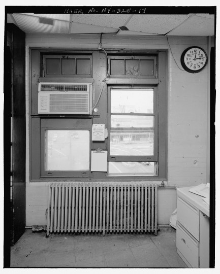 Interior view of original sash windows inside signal tower, looking southwest. Stillwell Avenue Station, Intersection of Stillwell & Surf Avenues, Brooklyn, Kings County, NY. (Library of Congress)
