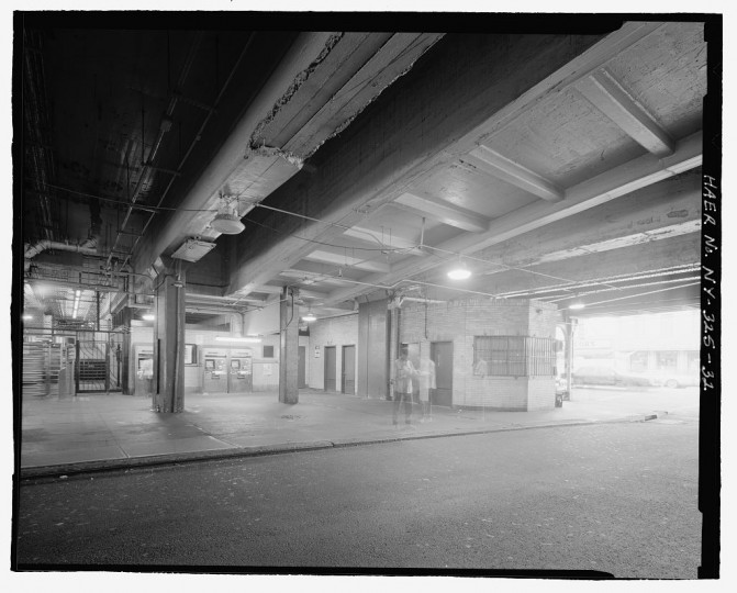 Underside of tracks showing columns, concrete-encased I-beams, and ramps near storage room, looking southwest. Stillwell Avenue Station, Intersection of Stillwell & Surf Avenues, Brooklyn, Kings County, NY. (Library of Congress)