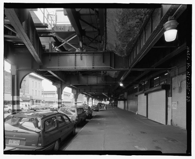 Underside of Track D along Stillwell Avenue showing steel I-beams, lateral supports, and columns. Looking north. Stillwell Avenue Station, Intersection of Stillwell & Surf Avenues, Brooklyn, Kings County, NY. (Library of Congress)