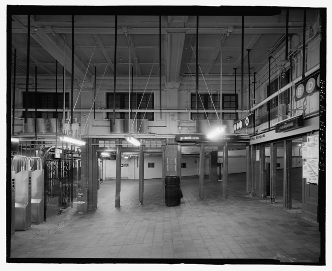 Interior of waiting room showing original ceiling, looking west. Stillwell Avenue Station, Intersection of Stillwell & Surf Avenues, Brooklyn, Kings County, NY. (Library of Congress)