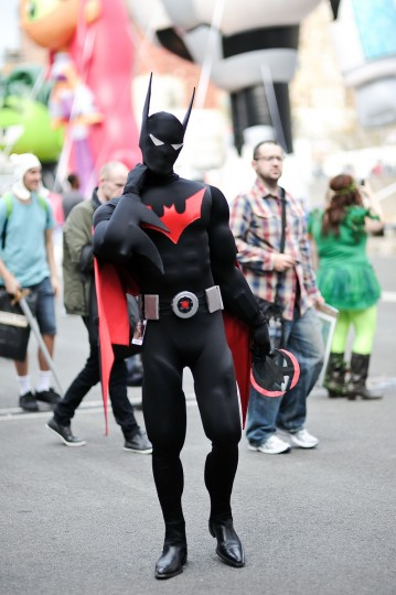 A Comic Con attendee poses as Batman during the 2014 New York Comic Con at Jacob Javitz Center. Daniel Zuchnik/Getty Images