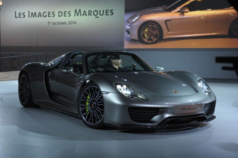 A Porsche 918 Spyder is presented at the Volkswagen Group Night show in Paris prior to the opening on October 2 of the Paris Auto show 2014 Press days. Eric Piermont/AFP/Getty Images