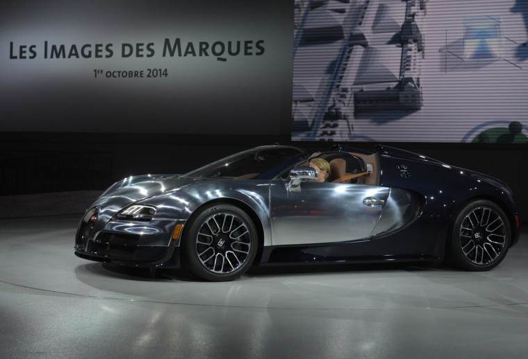 A Bugatti is presented at the Volkswagen Group Night show in Paris prior to the opening on October 2 of the Paris Auto show 2014 Press days. Eric Piermont/AFP/Getty Images