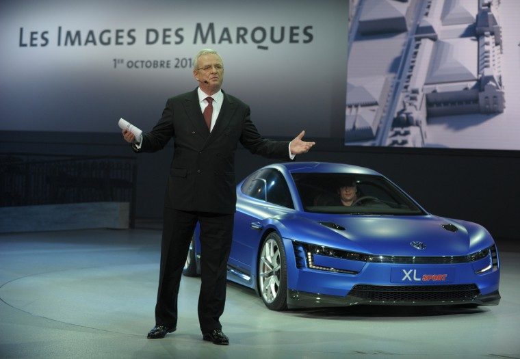 Volkswagen group Chairman of the Board Martin Winterkorn talks at the end of the Volkswagen Group Night show in Paris prior to the opening on October 2nd of the Paris Auto show 2014 Press days. Eric Piermont/AFP/Getty Images