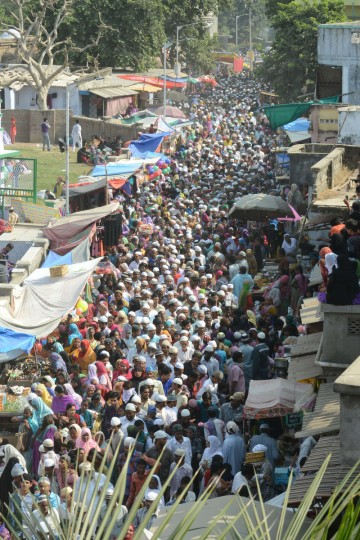 Thousands of Indian Muslim men and women leave after performing Special Prayers marking the end of the hajj pilgrimage to Mecca and welcoming the Eid al-Adha or the Feast of the Sacrifice, in the campus of Shrine of Abdul Latif Mohammadshah in Vatwa area of Ahmedabad on October 5, 2014. Indian Muslims will celebrate Eid-al-Adha across India, tomorrow. (Sam Panthaky/Getty Images)