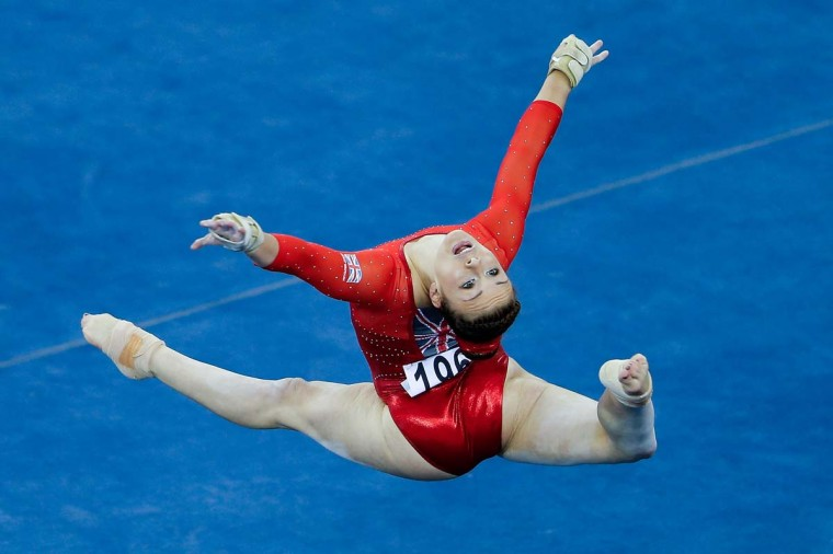 Gabrielle Jupp of Great Britain performs on the Floor Exercise during the women's qualification of the 45th Artistic Gymnastics World Championships at Guangxi Sports Center Stadium on October 6, 2014 in Nanning, China. (PLintao Zhang/Getty Images)