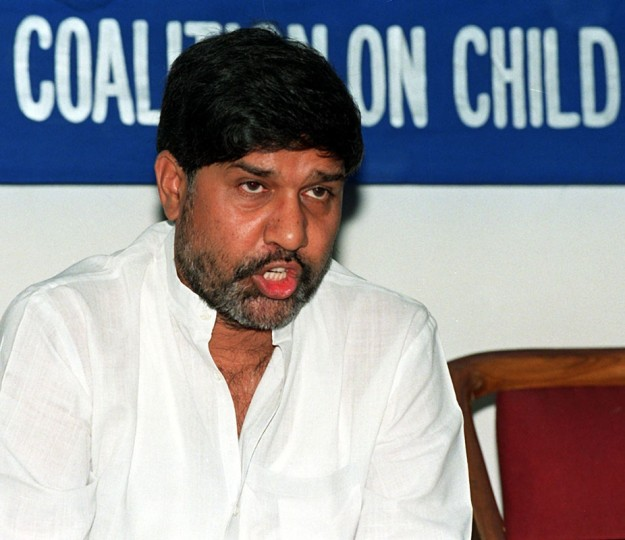A picture taken on June 18, 1999 shows Kailash Satyarthi, Indian anti-child labour activist and head of the South Asian Coalition Against Child Servitude, addressesing a press conference in New Delhi. The chairman of the Norwegian Nobel Committee, Thorbjorn Jagland, announced that Kailash Satyarthi has been awarded the Nobel Peace Prize 2014 at the Nobel Institute in Oslo on October 10, 2014. (Raveen Dranravi/AFP/Getty Images)
