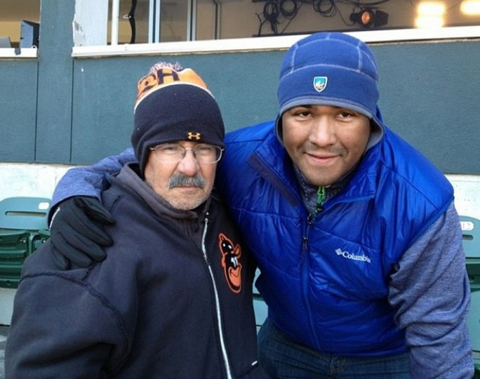 My dad and I enjoyed some great baseball weather on April 16, 2014 at Camden Yards. 39 degrees at first pitch!