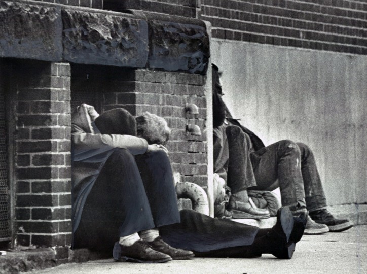Despite the cold, some of the city's street citizens catch a nap on E. Baltimore St. (Weyman Swagger/Evening Sun/Jan 5. 1979)