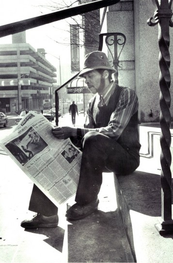 """Clint"" unemployed and living along the streets. (Lloyd Pearson, 2/19/1982)"