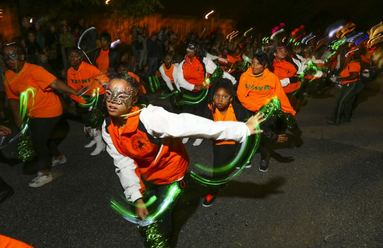 Marching band N-Motion performs at the annual Halloween Lantern Parade at Patterson Park this past weekend. (Kaitlin Newman/Baltimore Sun)