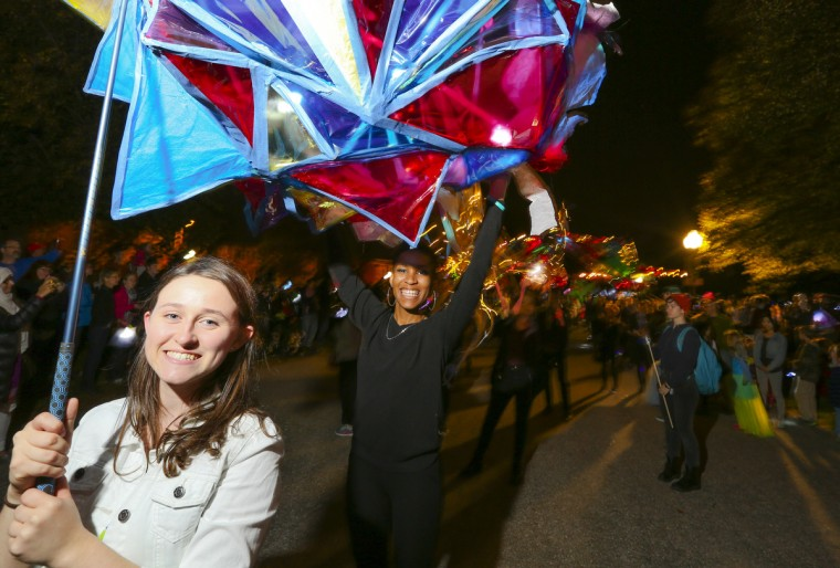 Many lanterns were supported by multiple people the annual Halloween Lantern Parade at Patterson Park this past weekend. (Kaitlin Newman/Baltimore Sun)