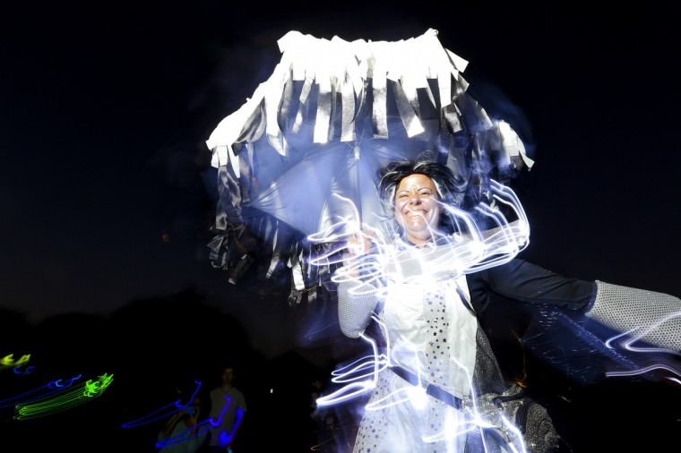 Jodie Zisow, 37, walked the entire stretch on stilts at the annual Halloween Lantern Parade at Patterson Park this past weekend. (Kaitlin Newman/Baltimore Sun)
