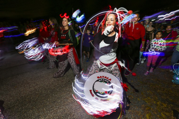 The Batala Banda de Percussao from Washington, D.C. kept the beat going at the annual Halloween Lantern Parade at Patterson Park this past weekend. (Kaitlin Newman/Baltimore Sun)