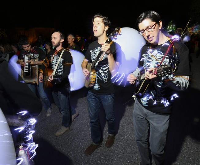 Manly Deeds performed at the annual Halloween Lantern Parade at Patterson Park this past weekend. (Kaitlin Newman/Baltimore Sun)