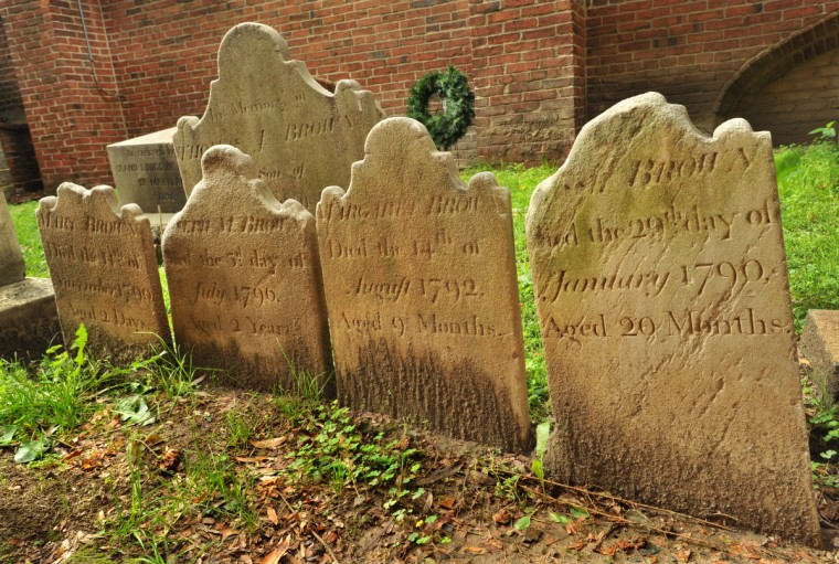 The high infant mortality rate in the 18th century is evident by the graves for four of the children of Sarah and John Brown. The inscriptions read, from left: 2 days, 2 years, 9 months and 20 months. Sarah Brown gave birth to ten children; six died young. Behind these markers is the tombstone for their father, John Brown, 1745 - 1794. Amy Davis / Baltimore Sun