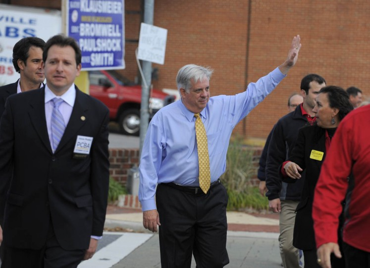 10/30/14-- Larry Hogan the Republican Party gubernatorial nominee campaigns in Parkville today. (Lloyd Fox, Baltimore Sun)