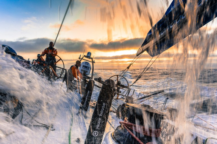 Onboard Team Vestas Wind. Maciel Cicchetti driving, Tony Rae on mainsheet and Nicolai Sehestead on trim as the boat surfs at 25 knts on the morning of Day 8. during Leg 1 between Alicante, Spain and Cape Town, South Africa. The Volvo Ocean Race 2014-15 is the 12th running of this ocean marathon. Starting from Alicante in Spain on October 11, 2014, the route, spanning some 39,379 nautical miles, visits 11 ports in 11 countries (Spain, South Africa, United Arab Emirates, China, New Zealand, Brazil, United States, Portugal, France, the Netherlands and Sweden) over nine months. The Volvo Ocean Race is the world's premier ocean race for professional racing crews. (Brian Carlin/Team Vestas Wind/Volvo Ocean Race via Getty Images)