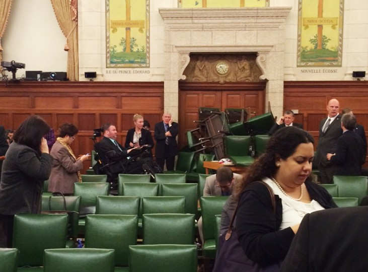 The Conservative Party caucus room is shown shortly after shooting began on Parliament Hill, in Ottawa, Ontario, October 22, 2014, taken and provided by MP Nina Grewal. Ottawa police are looking for multiple suspects in the shooting incidents on Wednesday near the Canadian war memorial and nearby Parliament Hill, a spokesman said. (MP Nina Grewal/Handout)