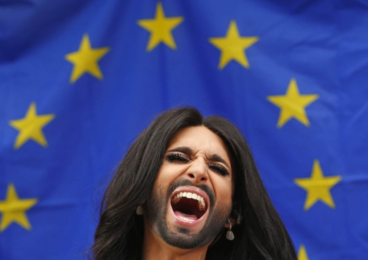 Conchita Wurst, the bearded transgender winner of the Eurovision Song Contest, performs during a concert at the European Parliament in Brussels October 8, 2014. The concert organized by members of Parliament aimed to support the adoption in February of the report against homophobia and sexual discriminations. (Yves Herman/Reuters photo)