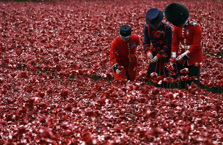 "Chelsea Pensioner Albert Willis (L), Yeoman Warder Paul Cunliffe and Guardsman Joseoph Robinson (R) plant ceramic poppies amongst other poppies that form part of the art installation called ""Blood Swept Lands and Seas of Red"" at the Tower of London October 9, 2014. The evolving art installation, which will be completed on November 11, will create a commemoration for the centenary of World War One. (Luke MacGregor/Reuters)"