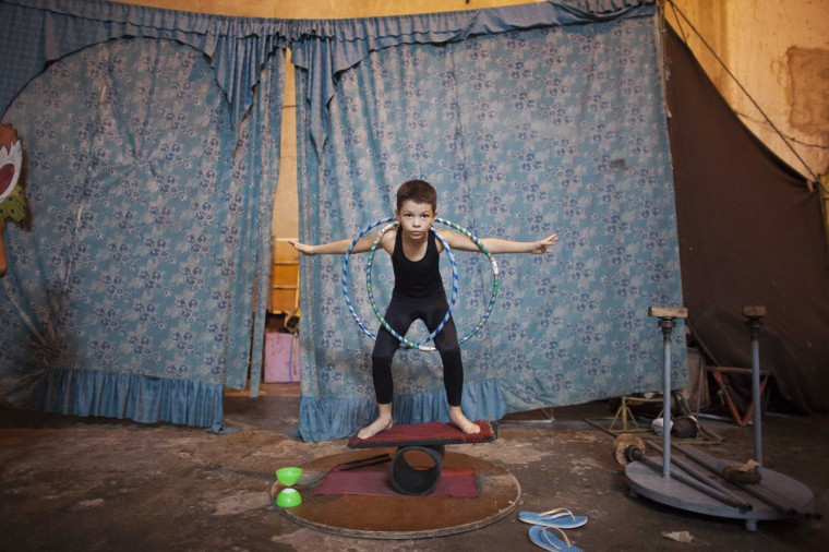 Samuel Amador, 8, practices during a training session at a circus school in Havana. (Alexandre Meneghini/Reuters)