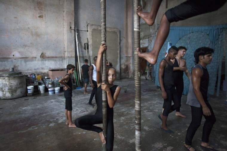 Children practice during a training session at a circus school in Havana. (Alexandre Meneghini/Reuters)