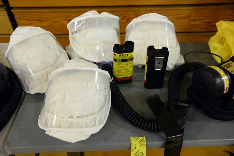 Protective gear for U.S. Army soldiers from the 101st Airborne Division (Air Assault), who are earmarked for the fight against Ebola, is seen during training before their deployment to West Africa, at Fort Campbell, Kentucky October 9, 2014. (Harrison McClary/Reuters)