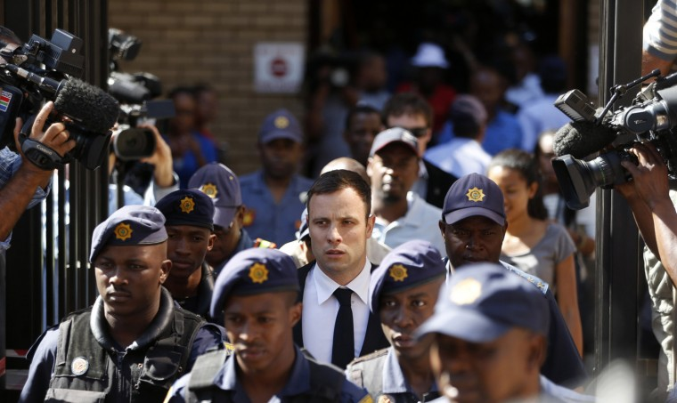 South African Olympic and Paralympic sprinter Oscar Pistorius leaves the North Gauteng High Court in Pretoria, October 16, 2014. Pistorius returned to the court on Thursday on the fourth day of sentencing procedures for the negligent killing of his model girlfriend Reeva Steenkamp. (Mike Hutchings/Reuters)