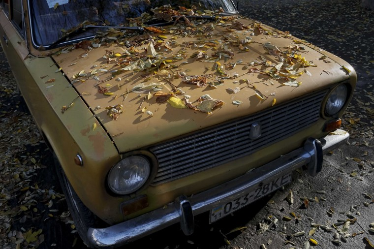 Fallen leaves cover an old car during a sunny autumn day in central Kiev, October 16, 2014. (Gleb Garanich/Reuters)